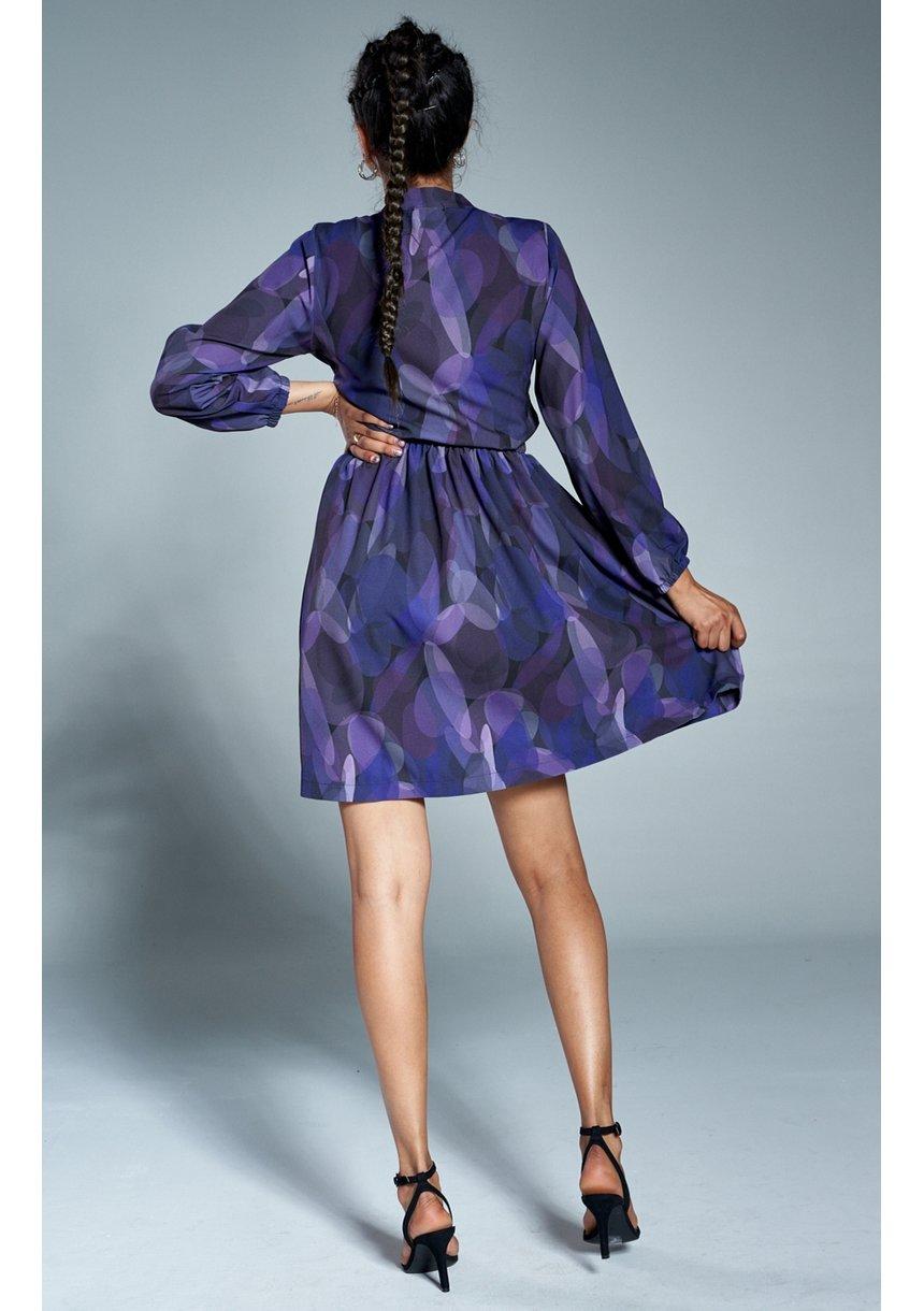 Sukienka z wiązaniem print Fioletowa