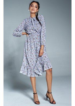 Sukienka midi w łączkę z wiązaniem