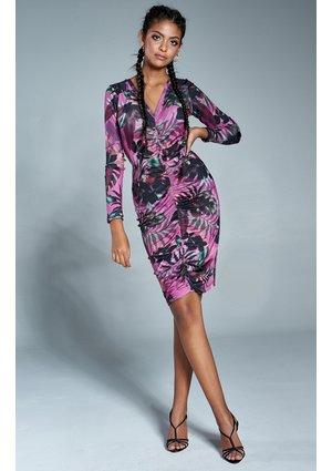 Dopasowana sukienka print z dekoltem w serek