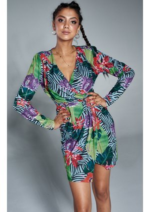 MINI WRAP DRESS IN TROPICAL FLOWERS PRINT