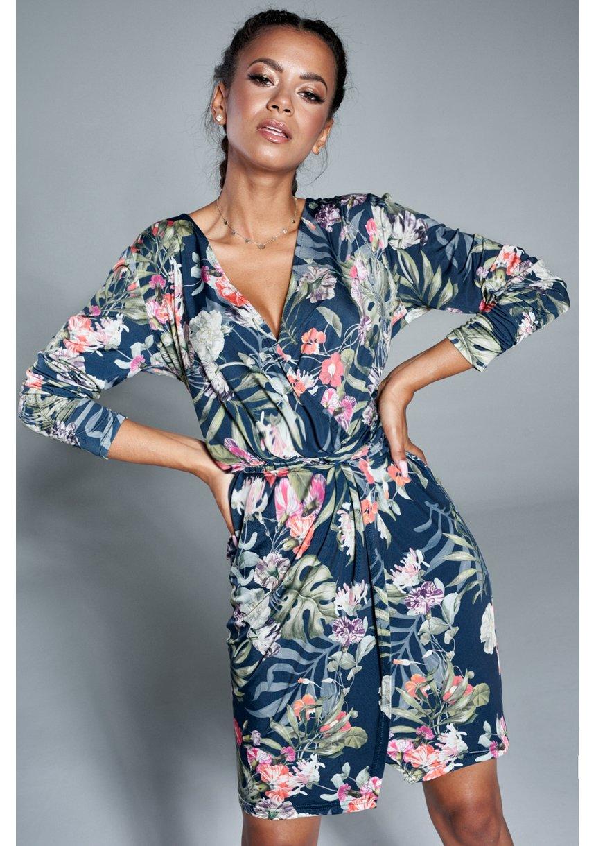 Sukienka w kwiaty z asymetrią Granatowa