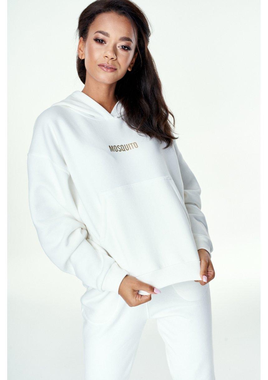 Bluza z kieszenią i kapturem Kremowa ILM