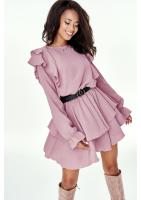 Sukienka z falbanami Pudrowa