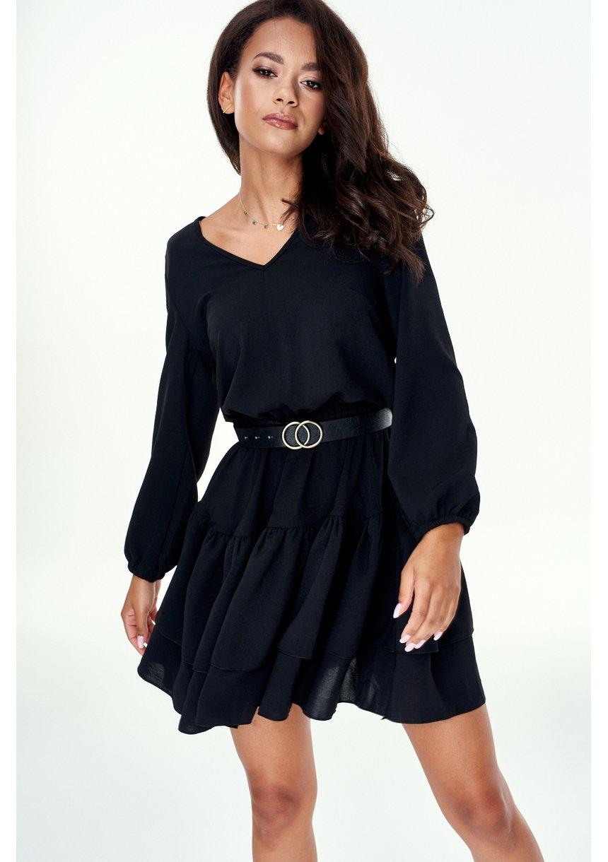 Sukienka z podwójną falbaną Czarna