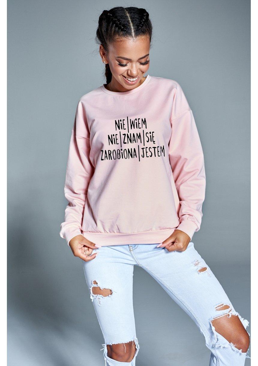 """Bawełniana bluza  """"Zarobiona jestem""""  pudrowa ILM"""