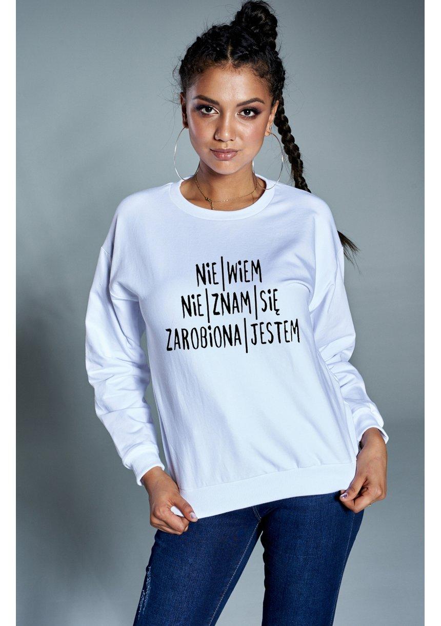 """Bawełniana bluza  """"Zarobiona jestem""""  biała ILM"""