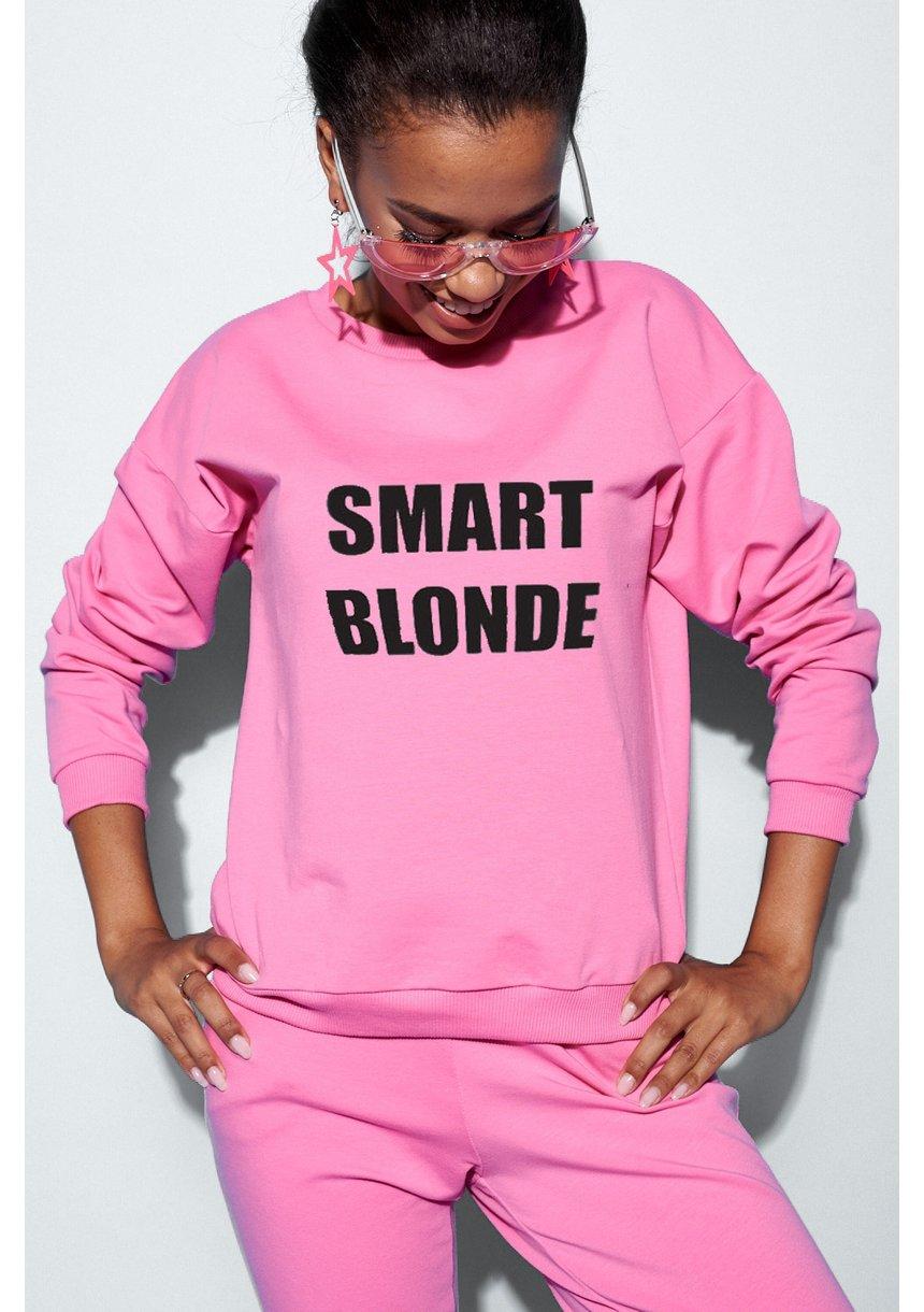 """Bawełniana bluza """"Smart blondie"""" fuksja ILM"""