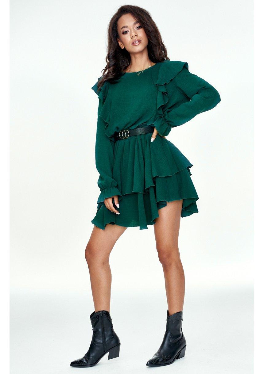 Sukienka z falbankami Zielona