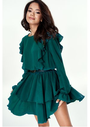 GREEN DRESS WITH FRILLS