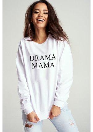 """Bawełniana bluza """"Drama mama"""" biała ILM"""