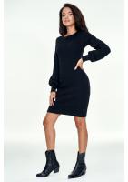 Sukienka z bawełny w prążek Czarna