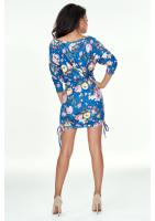 Sukienka mini z zamszowej tkaniny w kwiaty Chabrowa
