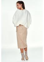 Sweter oversize z dekolte V A006 Kremowy ILM