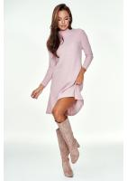 Trapezowa sukienka swetrowa Pudrowa