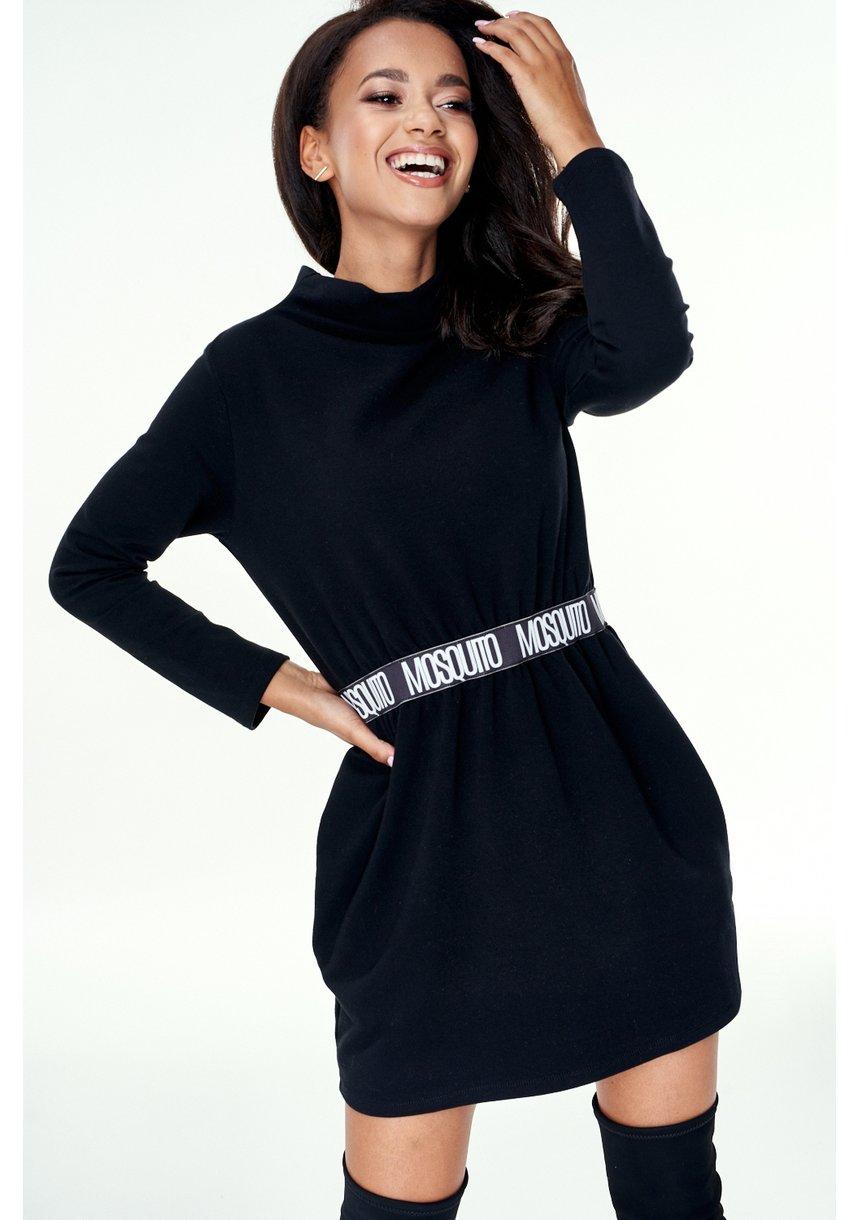 Sukienka na stójce z gumą logo Czarna ILM