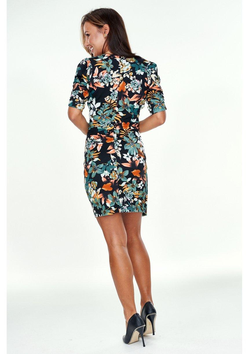 Sukienka w kwiatki z asymetrią Zielona