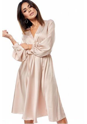 SATIN MIDI DRESS IN NUDE COLOR