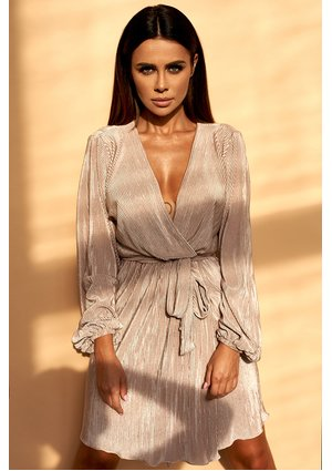 Kopertowa sukienka plisowana Nude