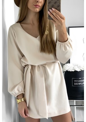 V-NECK BEIGE DRESS WITH BELT