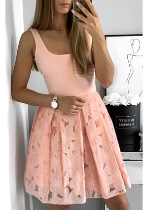 DRESS WITH AN EMBROIDERED SKIRT