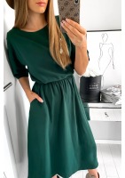 Sukienka midi z kieszeniami Zielona