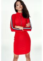Sukienka mini na stójce z lampasami Czerwona