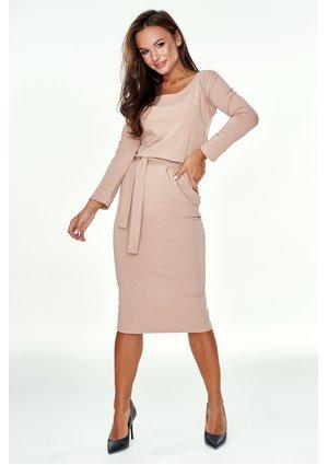 Ołówkowa sukienka z bawełny midi Beżowa
