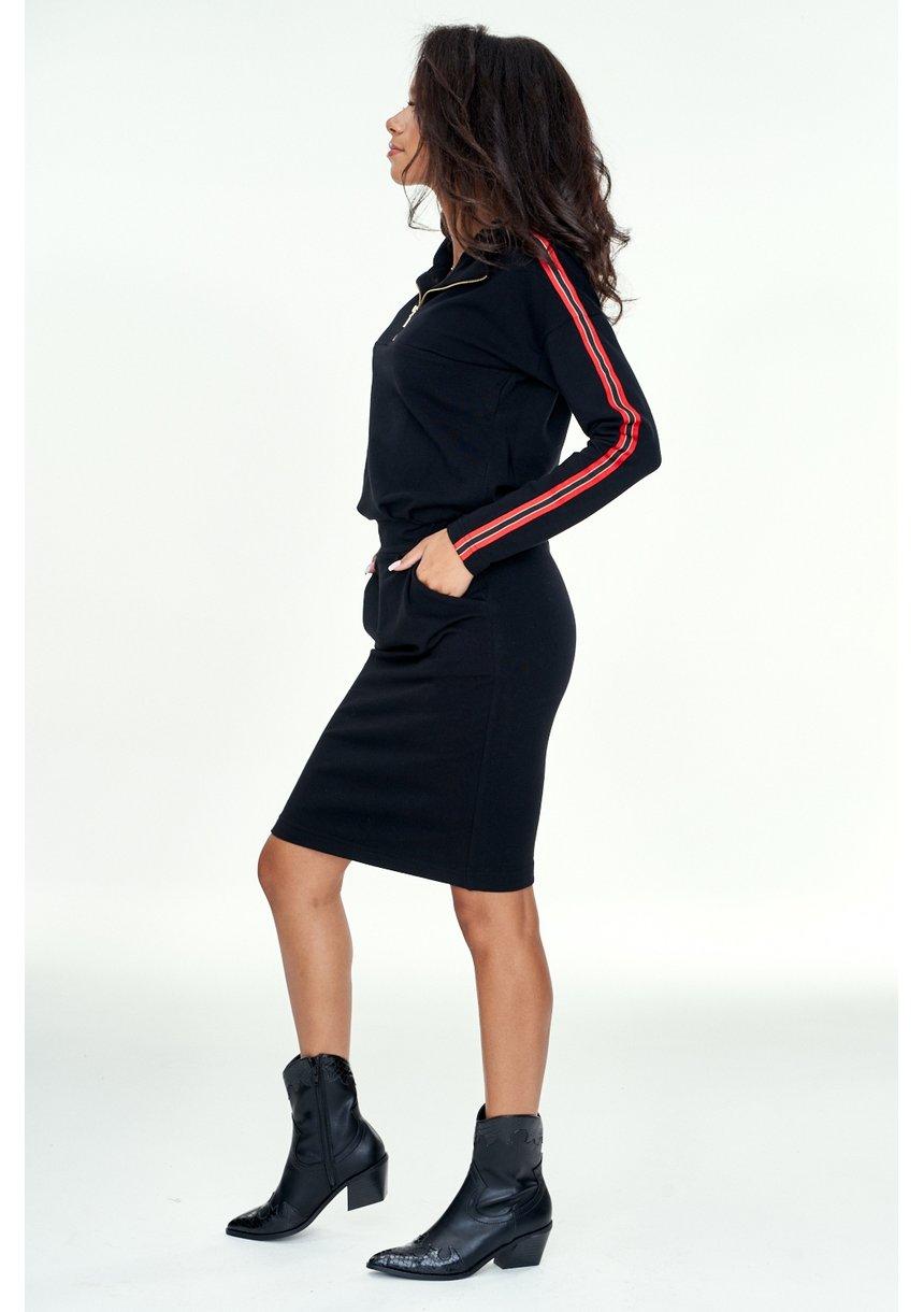 Ołówkowa sukienka z lampasami Czarna