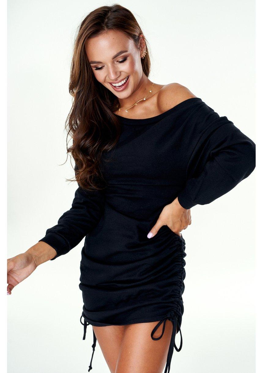 Bawełniana sukienka z marszczeniami Czarna