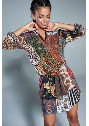 CROSSOVER DRESS IN BOHO PATCHWORK PRINT