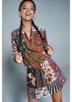 Kopertowa sukienka Boho patchwork