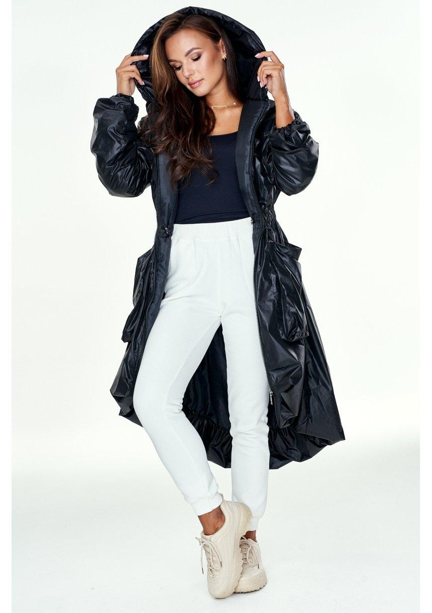 Asymetryczny płaszcz zimowy Czarny