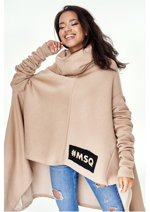BEIGE OVERSIZED SWEATSHIRT WITH TURTLENECK