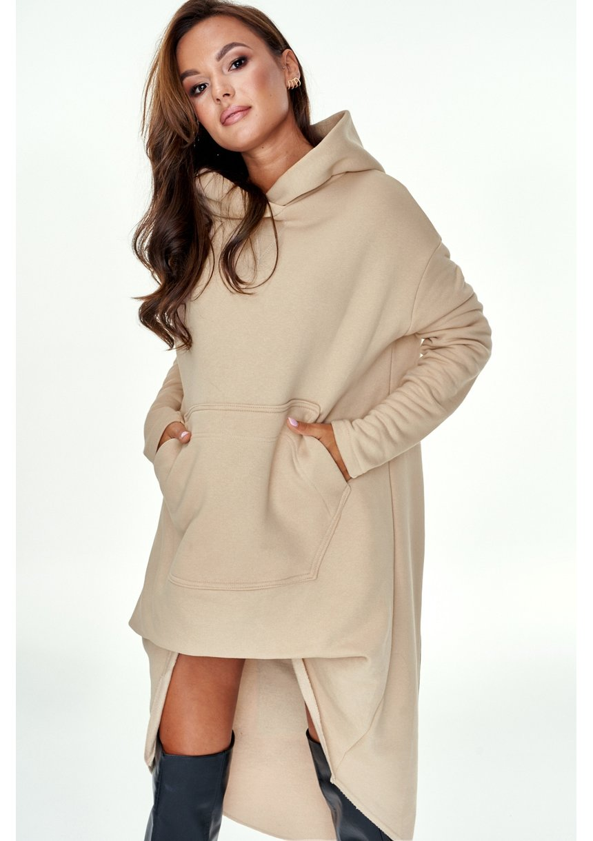 Asymetryczna tunika z kieszenią   Beżowa