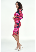 Sukienka z marszczonym rękawem w Róże