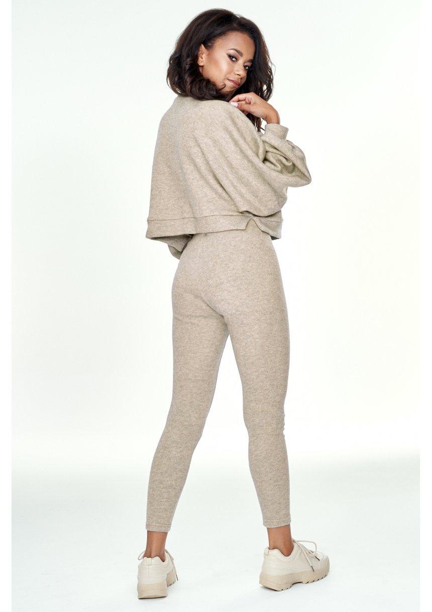 Krótki sweter z kieszenią Beżowy