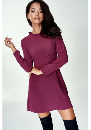 BURGUNDY MINI A-LINE DRESS