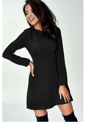 BLACK MINI A-LINE DRESS