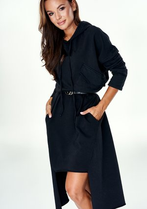 BLACK ASYMMETRIC TUNIC WITH HOOD