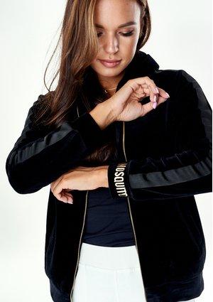 Rozpinana bluza z weluru Czarna ILM