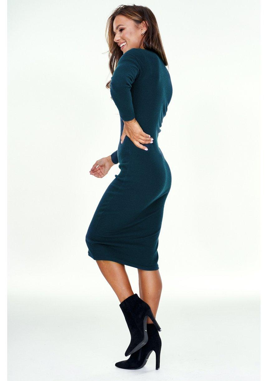 Sukienka midi z dziany swetrowej Zielona