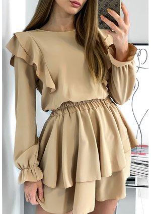 Sukienka z falbankami Bordowa
