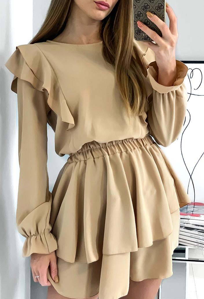 Sukienka z falbankami Beżowa