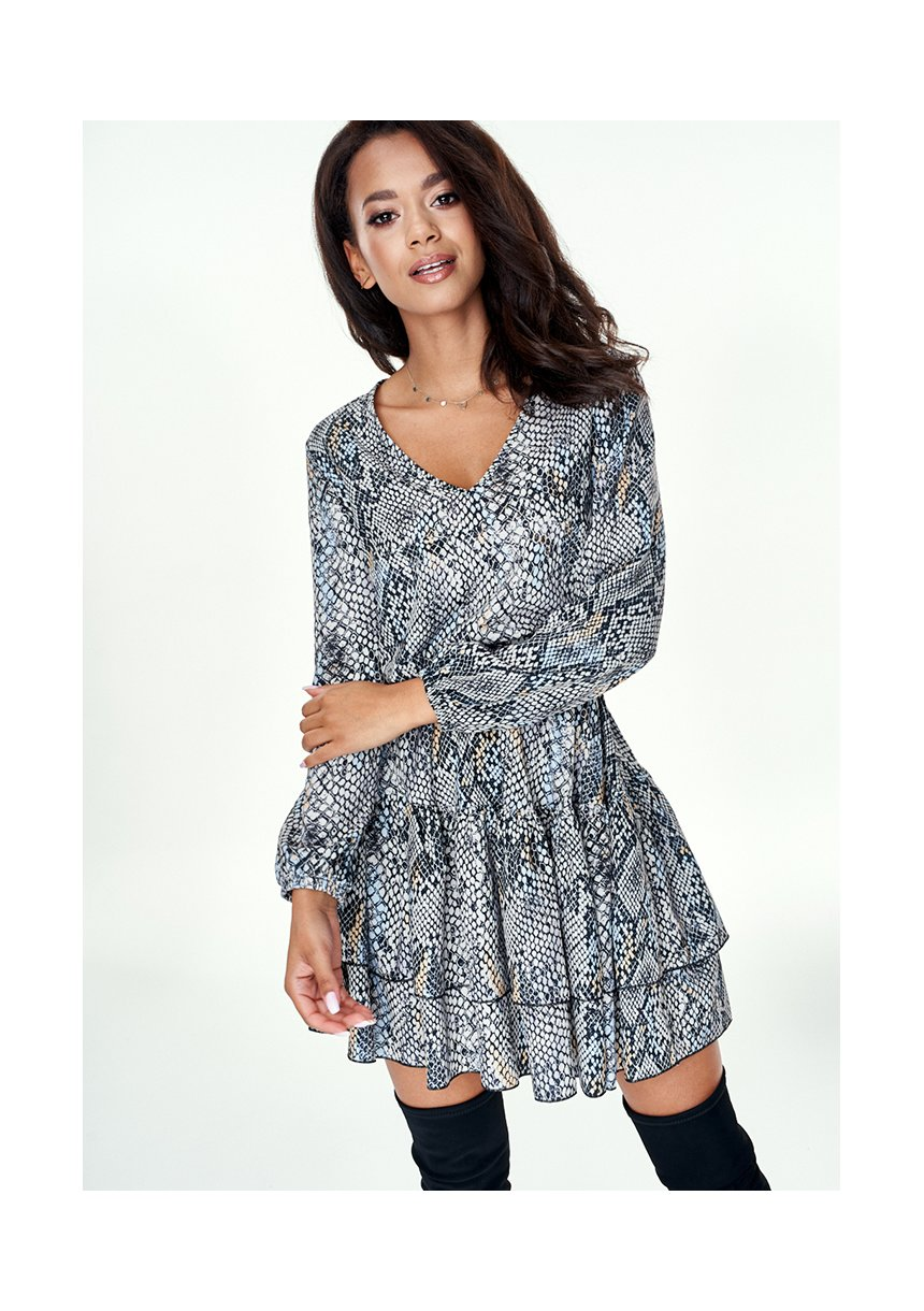 Sukienka z podwójną falbaną Wężowy print