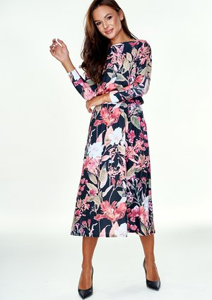 VISCOSE MIDI DRESS IN FLOWERS PRINT