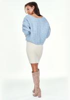 Sweter z moherem dekolt V Błękitny A40 ILM