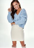 Sweter z moherem dekolt V Błękitny A022 ILM