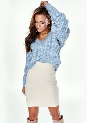 LIGHT BLUE MOHAIR V-NECK SWEATER A40 ILM
