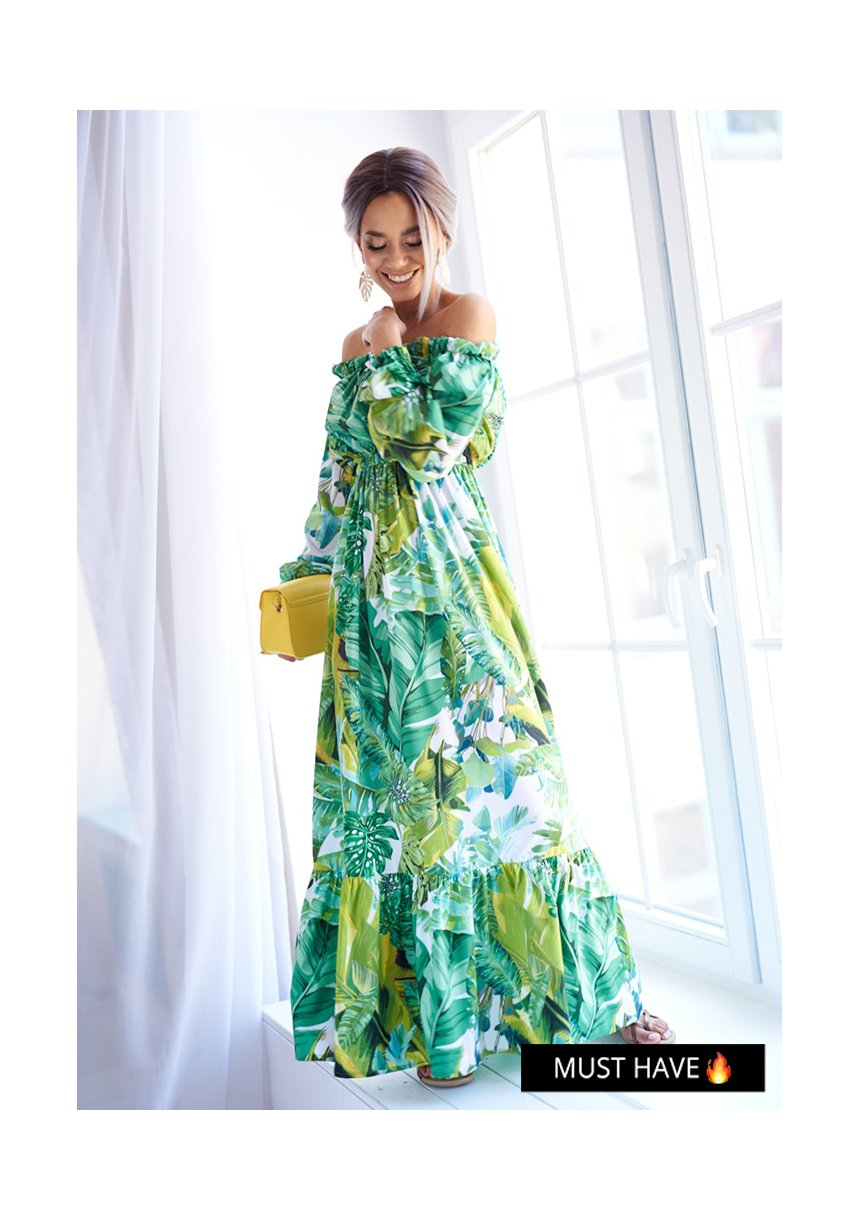 CROSSOVER MAXI DRESS IN FLOWERS PRINT