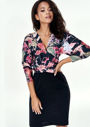 BODYCON DRESS WITH FLOWERS PRINT TOP